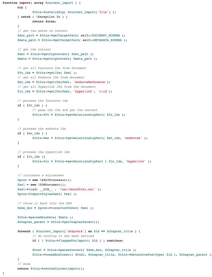 import code
